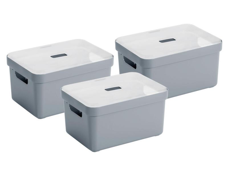 Sunware Sigma Home boîte de rangement 5l gris-bleu 3 pièces + couvercle
