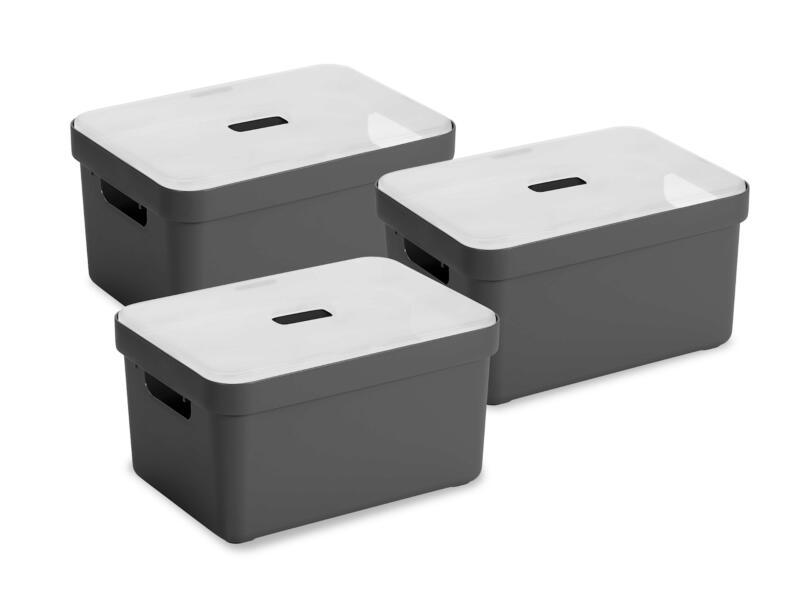 Sunware Sigma Home opbergbox 13l antraciet 3 stuks + deksel