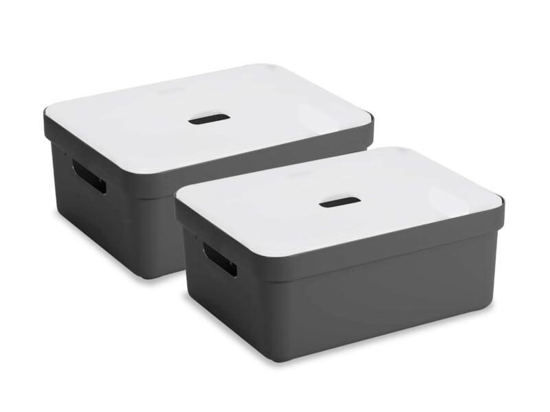 Sunware Sigma Home opbergbox 24l antraciet 2 stuks + deksel