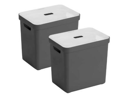 Sunware Sigma Home opbergbox 25l antraciet 2 stuks + deksel