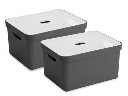 Sunware Sigma Home opbergbox 32l antraciet 2 stuks + deksel
