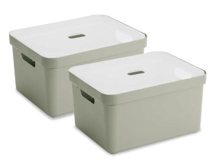 Sunware Sigma Home opbergbox 32l lichtgroen 2 stuks + deksel
