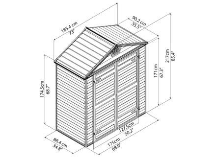 Palram Skylight abri de jardin 185,4x90,2x217 cm résine gris foncé