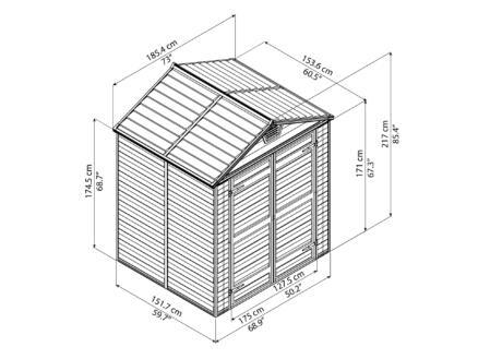 Palram Skylight tuinhuis 185,4x153,6x217 cm donkergrijs