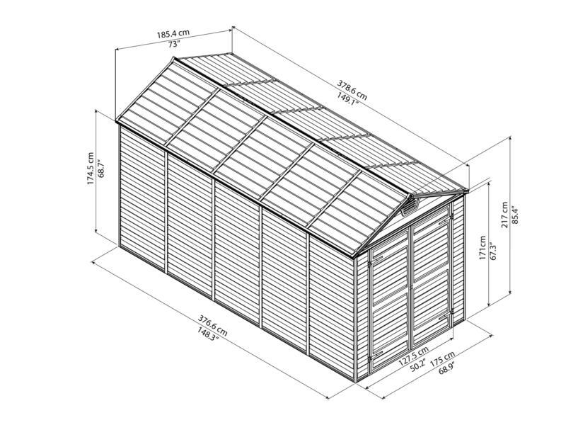 Palram Skylight tuinhuis 185,4x378,6x217 cm donkergrijs