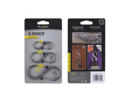 Nite Ize SlideLock S-Biner S-karabijnhaak 99,1x12,7 mm inox 3 stuks