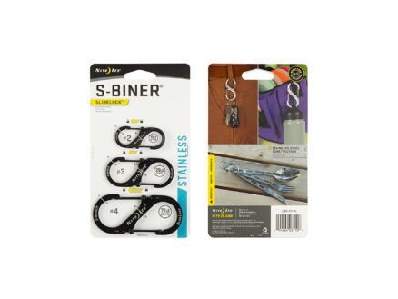 SlideLock S-Biner mousqueton S 99,06x12,7 mm inox noir 3 pièces