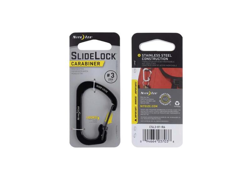 Nite Ize SlideLock S-karabijnhaak 38,1x58,42 mm inox zwart