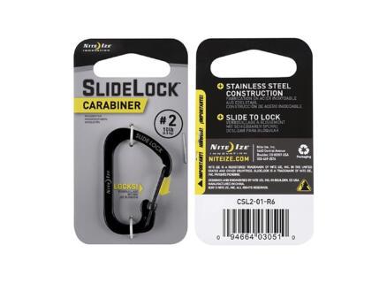 Nite Ize SlideLock karabijnhaak 28,96x43,18 mm inox zwart