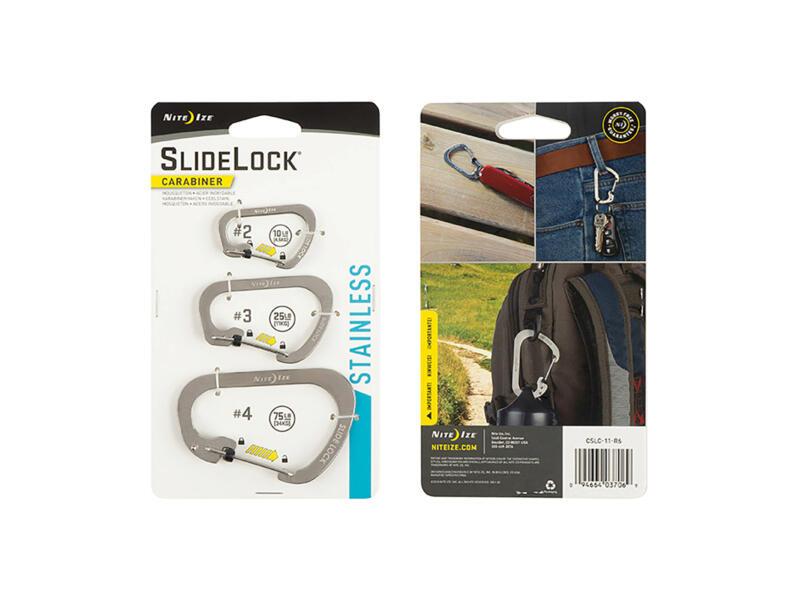 Nite Ize SlideLock karabijnhaak 99,1x12,7 mm inox 3 stuks