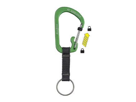 Nite Ize SlideLock sleutelring met karabijnhaak groen
