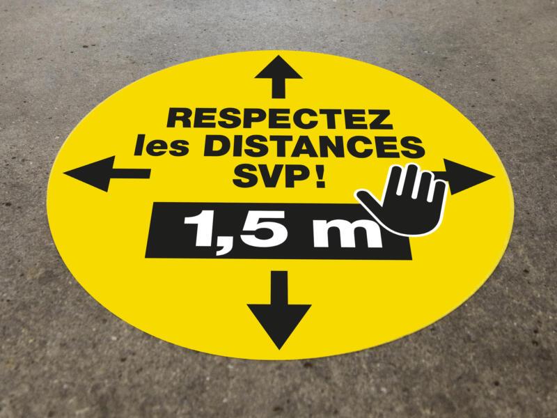 Social Distance vloersticker respectez les distances svp! 1,5m 43cm 5 stuks