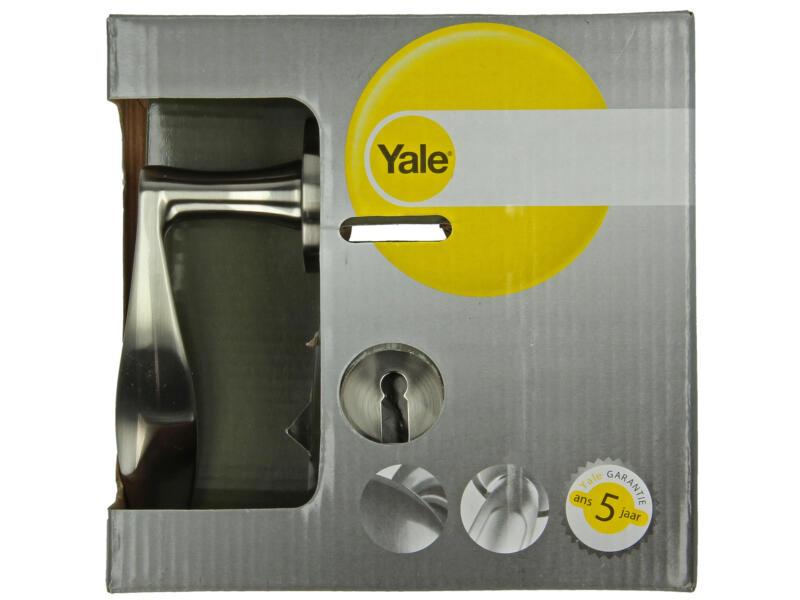 Yale Songo BB poignée de porte avec rosaces 51mm set complet nickelé mat