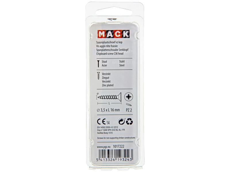 Mack Spaanplaatschroeven PZ2 16x3,5 mm geelverzinkt 40 stuks