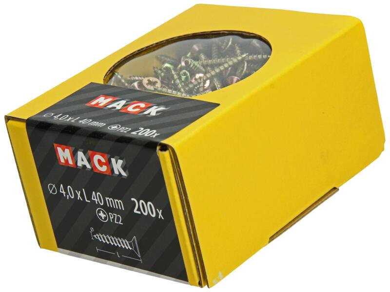 Mack Spaanplaatschroeven PZ2 40x4 mm geelverzinkt 200 stuks