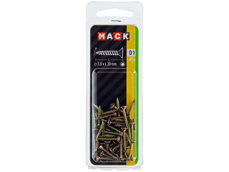 Mack Spaanplaatschroeven TX10 20x3 mm geelverzinkt 45 stuks