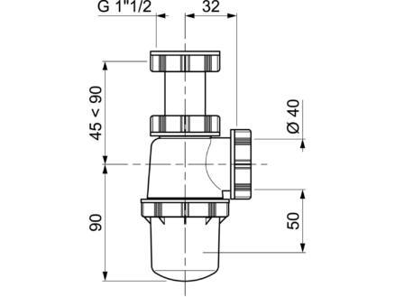 Wirquin Spoeltafelsifon regelbaar 6/4inch x 40mm