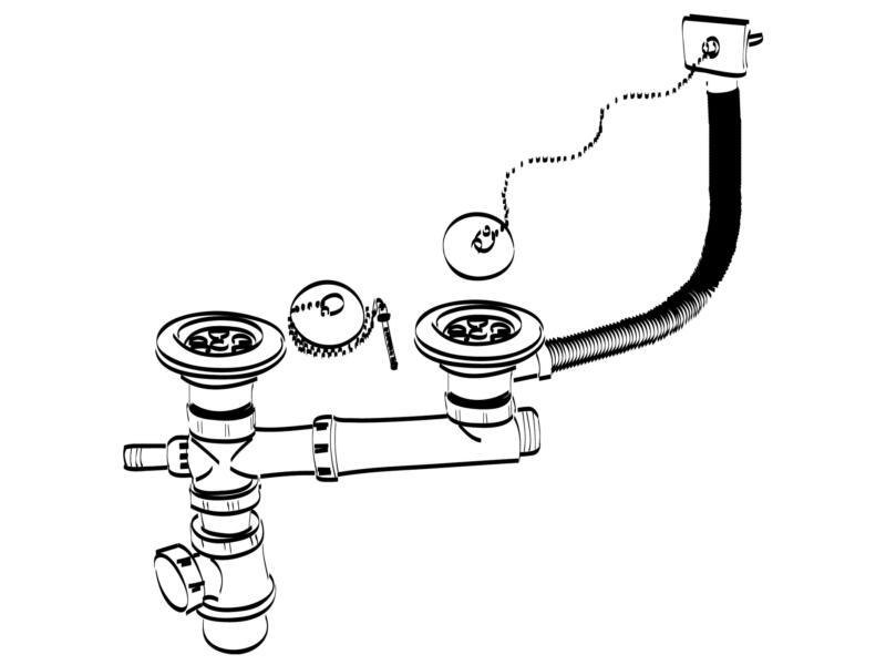 Wirquin Spoeltafelsifon voor dubbele spoelbak 50mm met 2 afvoerpluggen, dopjes, kettingen en 1 overloop