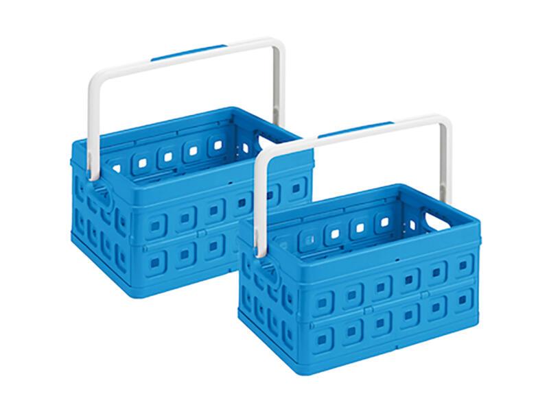 Sunware Square caisse pliante 24l bleu + anse blanche 2 pièces