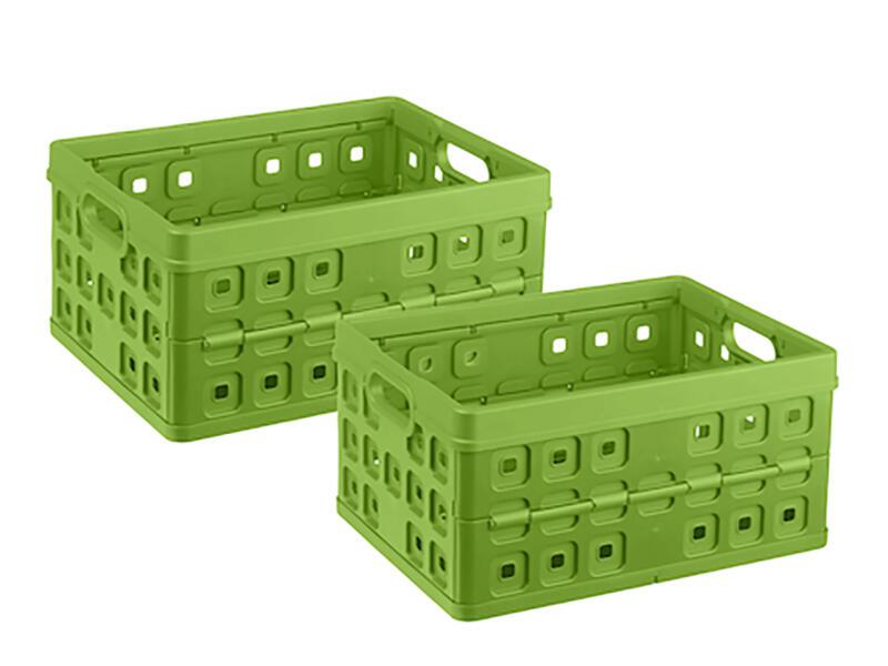 Sunware Square caisse pliante 32l vert 2 pièces