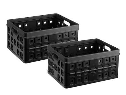 Sunware Square plooibox 32l zwart 2 stuks