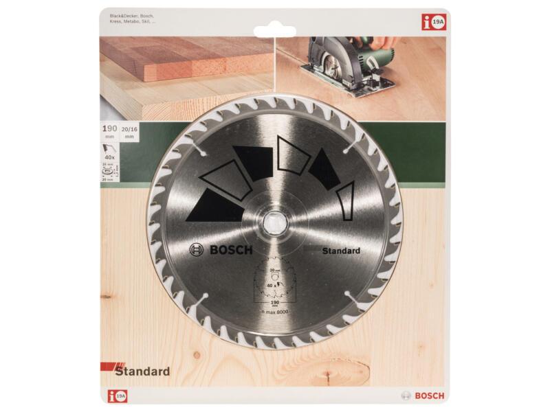 Bosch Standard cirkelzaagblad 190mm 40T hout