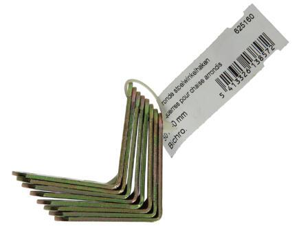 Stoelwinkelhaak afgerond bichromaat 50x50 mm 8 stuks
