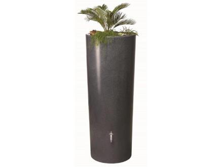 Garantia Stone tonneau de pluie 350l et pot à fleurs 2-en-1 brun