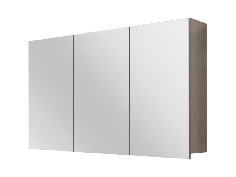Style armoire de toilette 100cm 3 portes miroir chêne gris