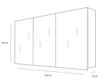 Style armoire de toilette 120cm 3 portes miroir chêne gris