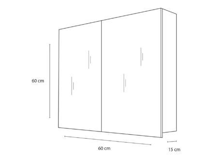 Style armoire de toilette 60cm 2 portes miroir blanc mat