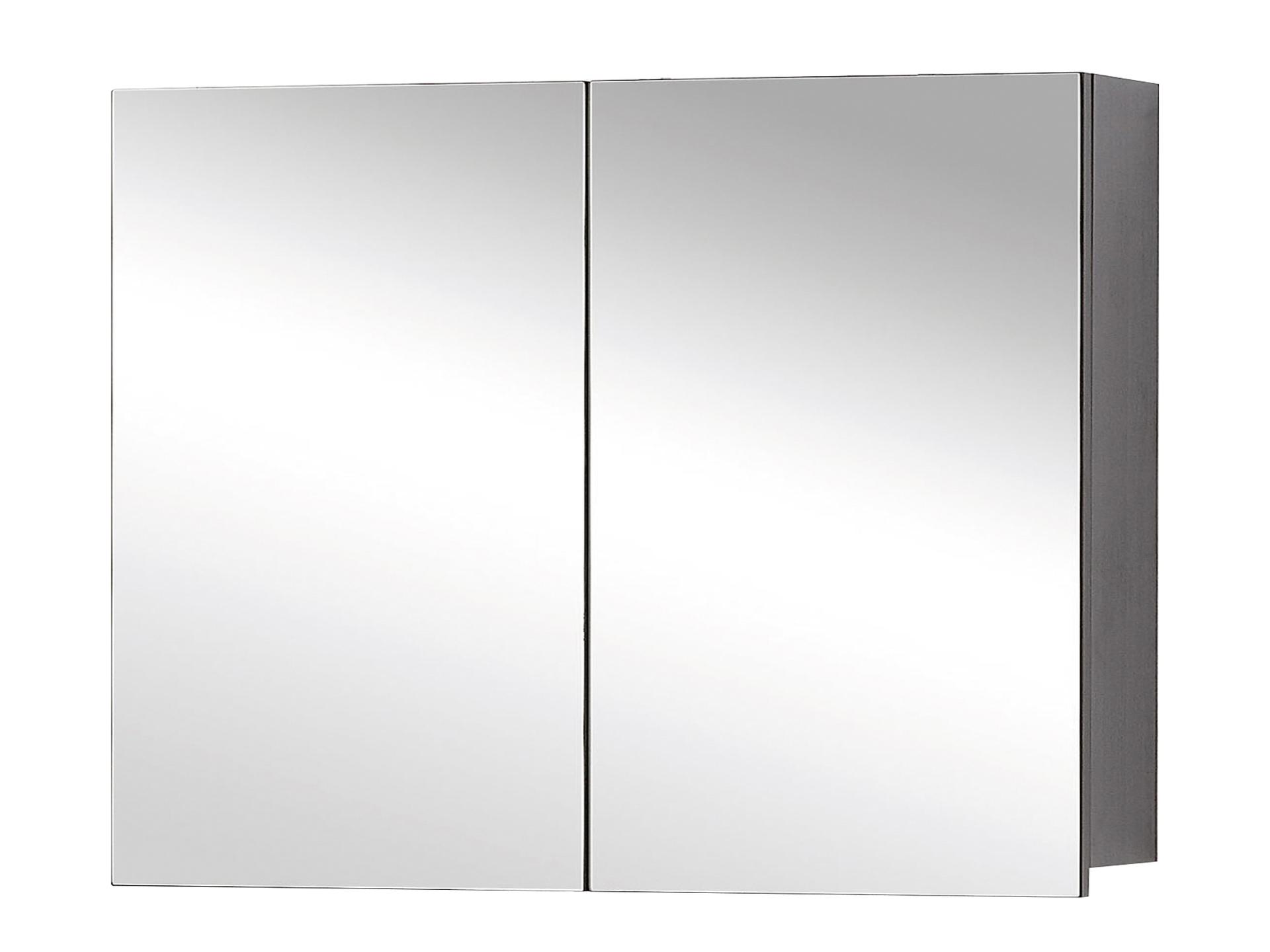 Style Armoire De Toilette 60cm 2 Portes Miroir Chene Noir Hubo