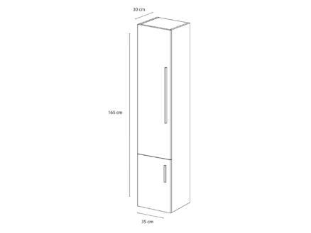 Style kolomkast 35cm 2 deuren links mat wit