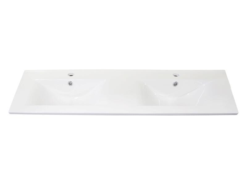 Style lavabo double encastrable 120cm porcelaine