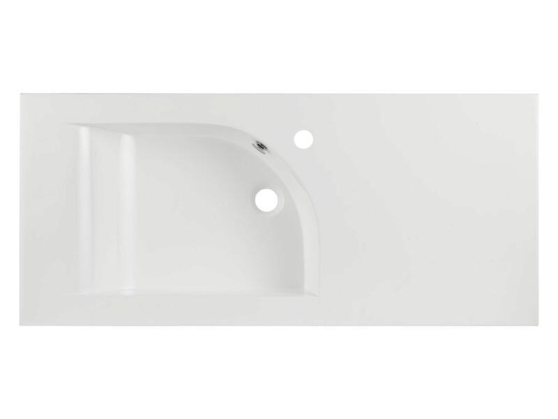 Style lavabo encastrable asymétrique gauche 100cm polybéton