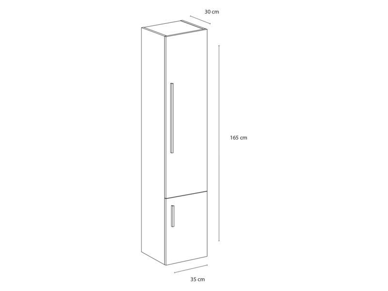 Style meuble colonne 35cm 2 portes ouvrant droit chêne gris