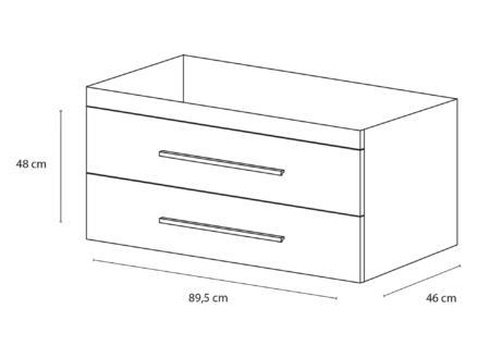 Style meuble lave-mains 90cm 2 tiroirs blanc mat