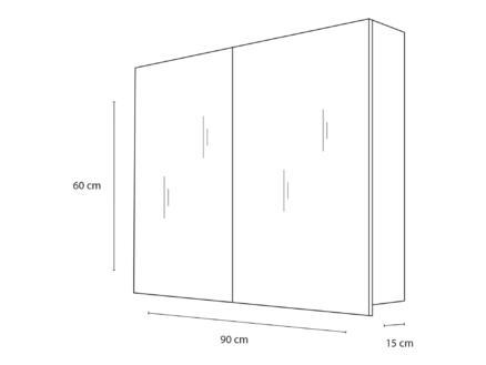 Style spiegelkast 90cm 2 deuren mat wit