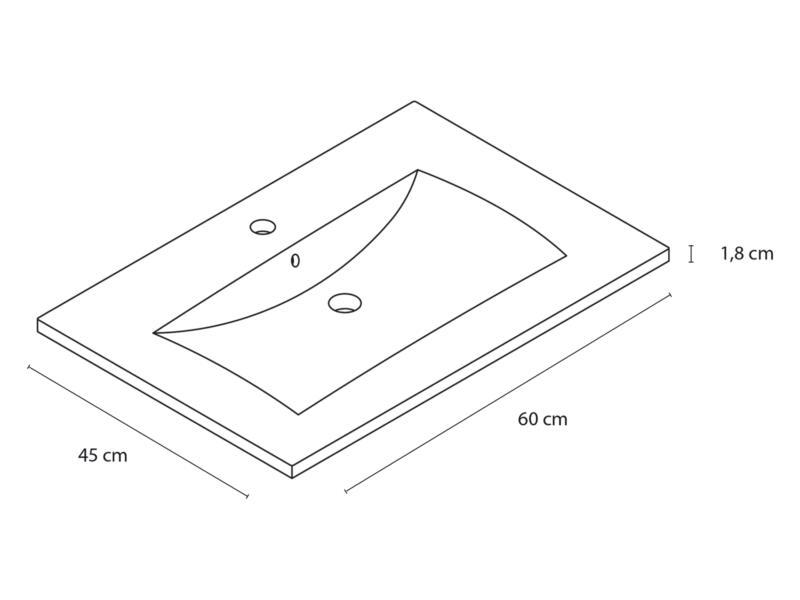 Style wastafel inbouw 60cm porselein