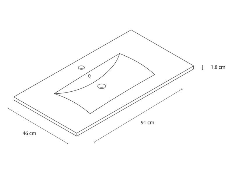 Style wastafel inbouw 90cm porselein