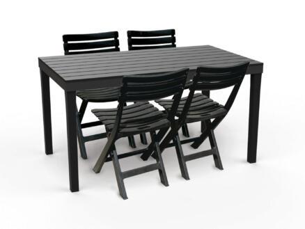 Garden Plus Sumatra table de jardin 138x78 cm anthracite