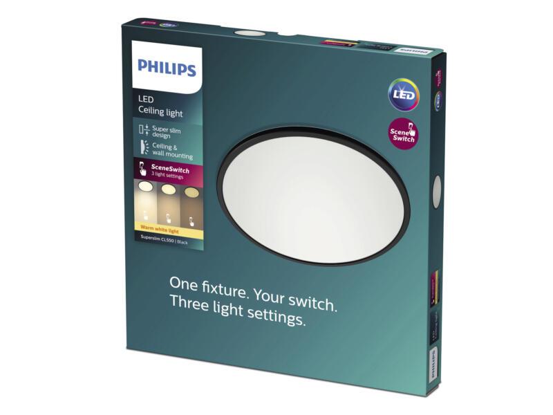 Philips Superslim LED plafondlamp 15W dimbaar zwart