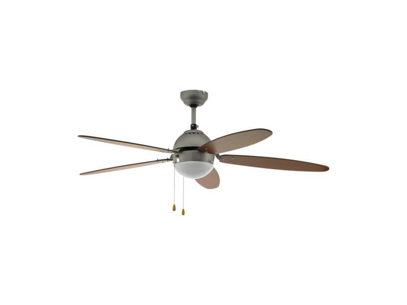 Eglo Susale ventilateur de plafond 60W ampoule non comprise nickel mat/brun