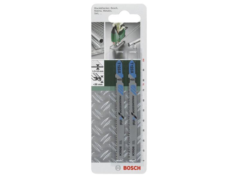Bosch T123X lame de scie sauteuse HSS 100mm métal 2 pièces