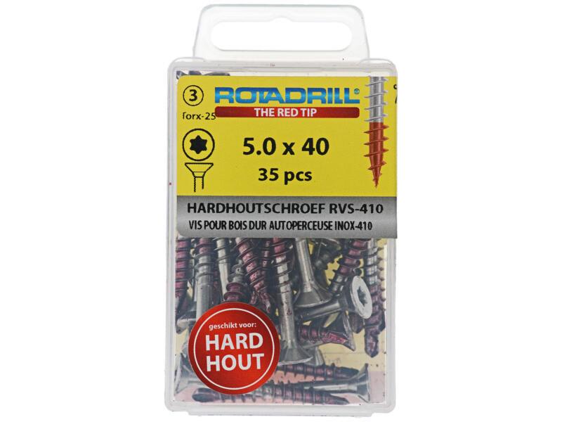 Rotadrill T25 hardhoutschroeven 40x5 mm inox 35 stuks