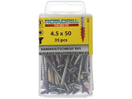 Rotadrill T25 hardhoutschroeven 50x4,5 mm inox 35 stuks