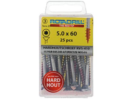 Rotadrill T25 hardhoutschroeven 60x5 mm inox 25 stuks
