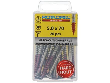 Rotadrill T25 hardhoutschroeven 70x5 mm inox 20 stuks