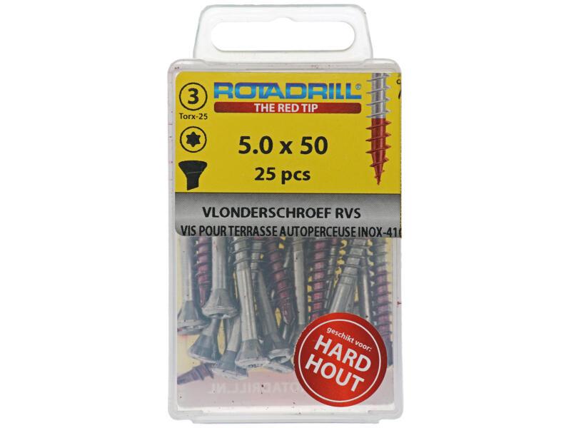 Rotadrill T25 terrasschroef 50x5 mm inox 25 stuks