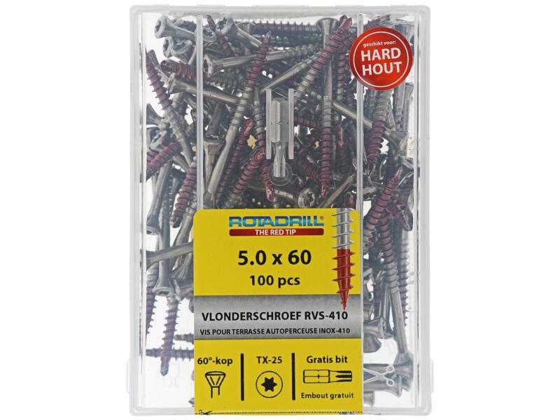 Rotadrill T25 terrasschroef 60x5 mm inox 100 stuks